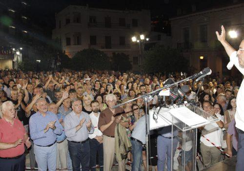 """""""Σας ευχαριστώ για την εμπιστοσύνη σας!"""" – Ομιλία Χρ. Σταϊκούρα στη γεμάτη πλατεία Διάκου (φωτό – video)   5.7.2019"""