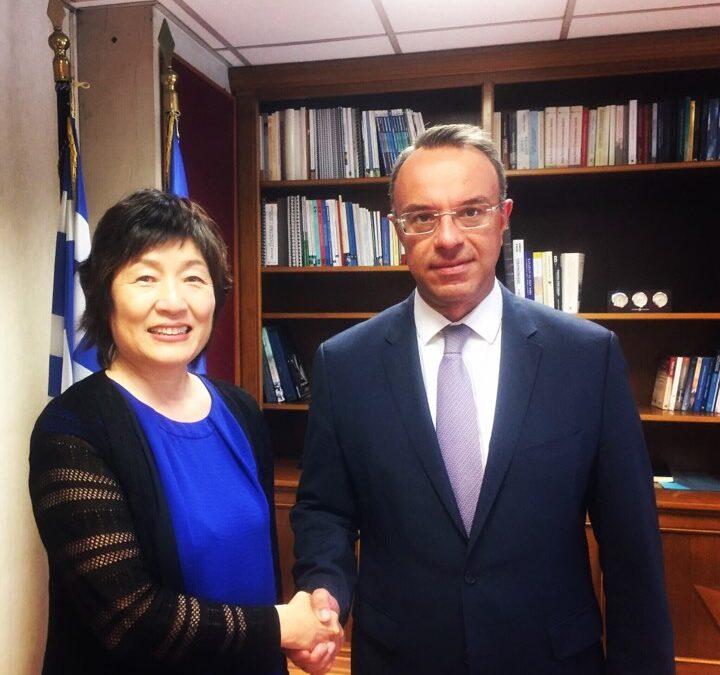Συνάντηση Υπουργού Οικονομικών Χρ. Σταϊκούρα με την Πρέσβη της Κίνας κ. Zhang Qiyue   7.8.2019