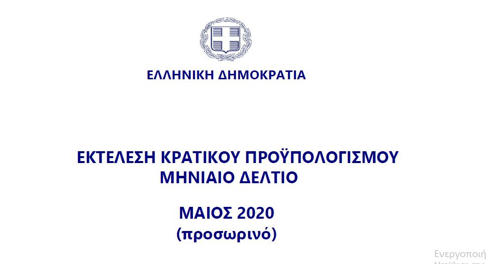 Εκτέλεση Κρατικού Προϋπολογισμού Μαΐου 2020   15.6.2020