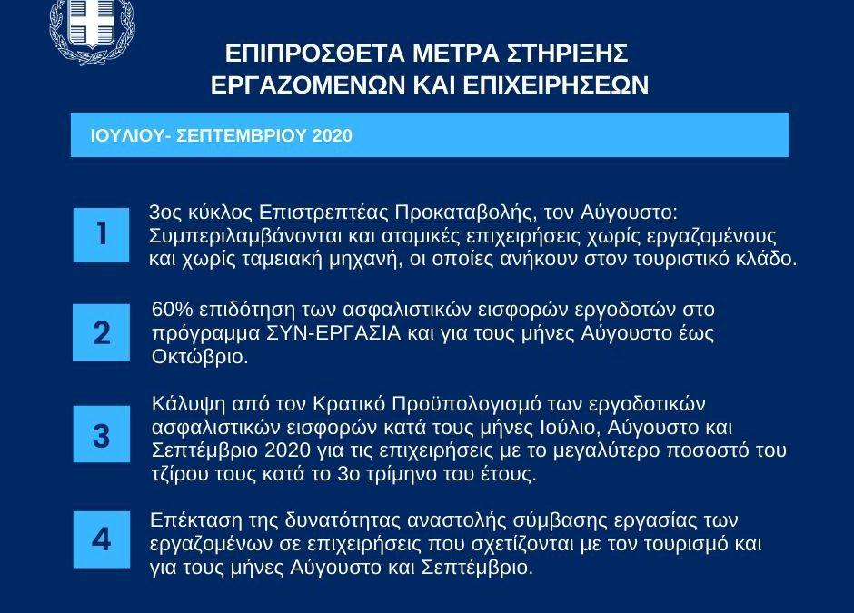 Επιπρόσθετα μέτρα στήριξης εργαζομένων και επιχειρήσεων για την περίοδο Ιουλίου – Σεπτεμβρίου | 3.7.2020
