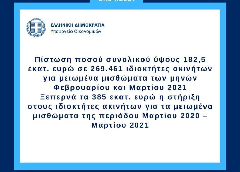 Πίστωση σε ιδιοκτήτες ακινήτων για μειωμένα μισθώματα των μηνών Φεβρουαρίου και Μαρτίου 2021   21.4.2021