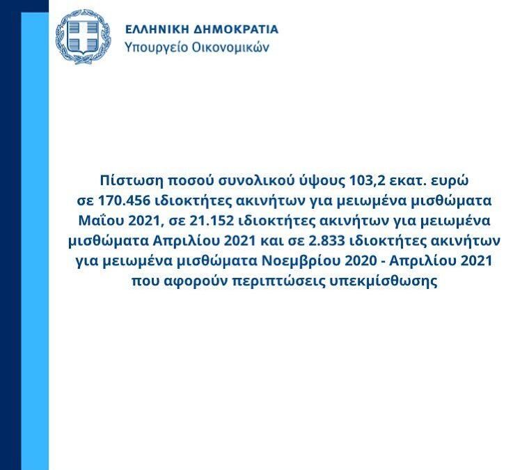 Πίστωση ποσού συνολικού ύψους 103,2 εκατ. ευρώ σε ιδιοκτήτες ακινήτων | 30.6.2021
